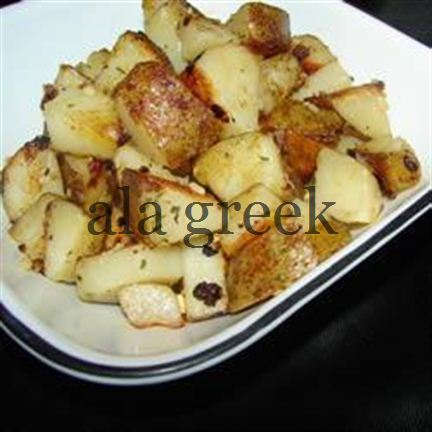 Pan-fried Potato Wedges mit Oliven und Feta