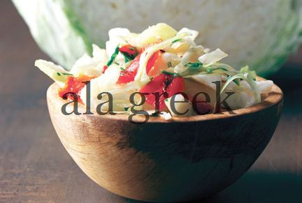 Cabbage Salad with Red Florina Peppers