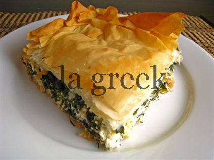 Spinach pie with cheese (Spanakopita)