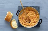 Greek scrambled eggs with cheese and tomato (Strapatsada )