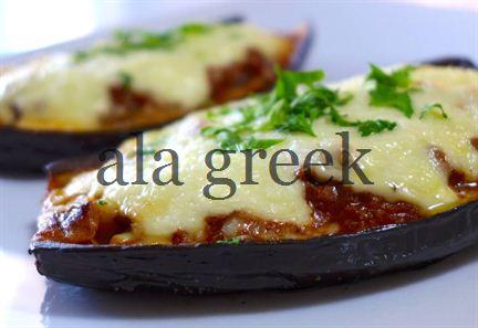 Greek stuffed Eggplant (Melitzanes Papoutsakia)